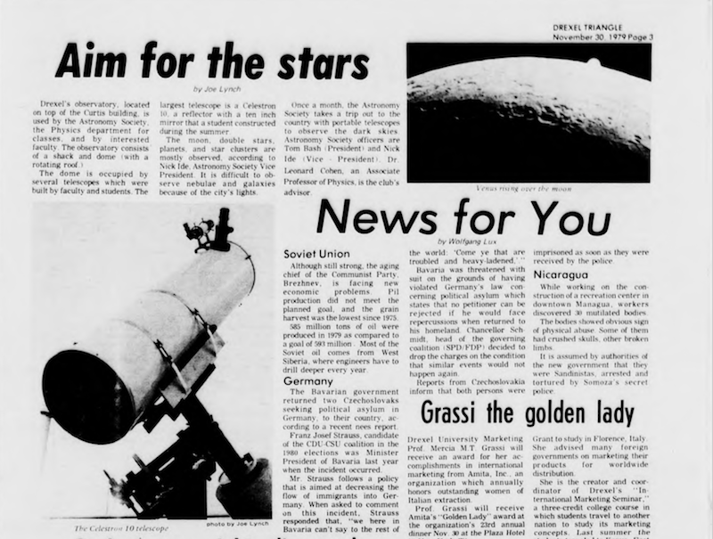 "A page from the Nov. 30, 1979 issue of ""The Triangle,"" Drexel's independent student newspaper, featuring an article about Drexel's observatory."