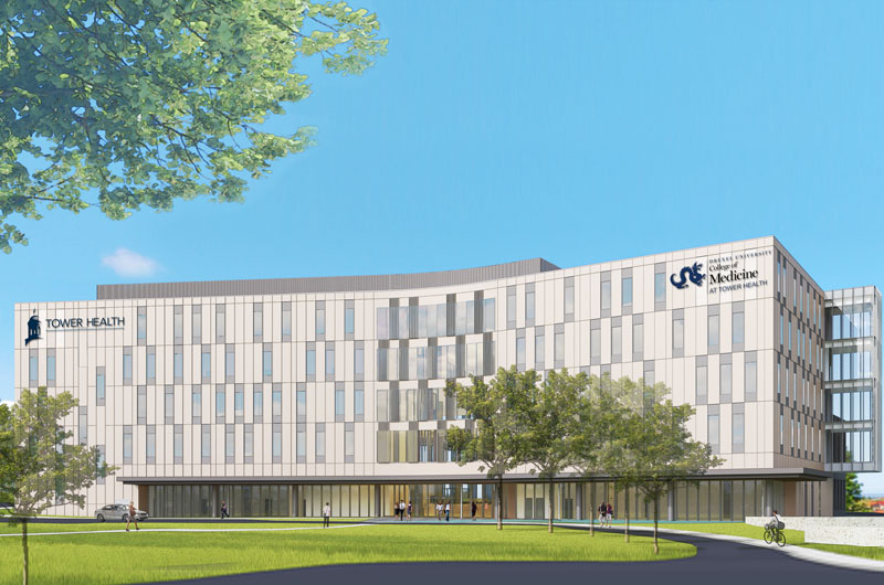 Rendering of new building for the Drexel College of Medicine at Tower Health