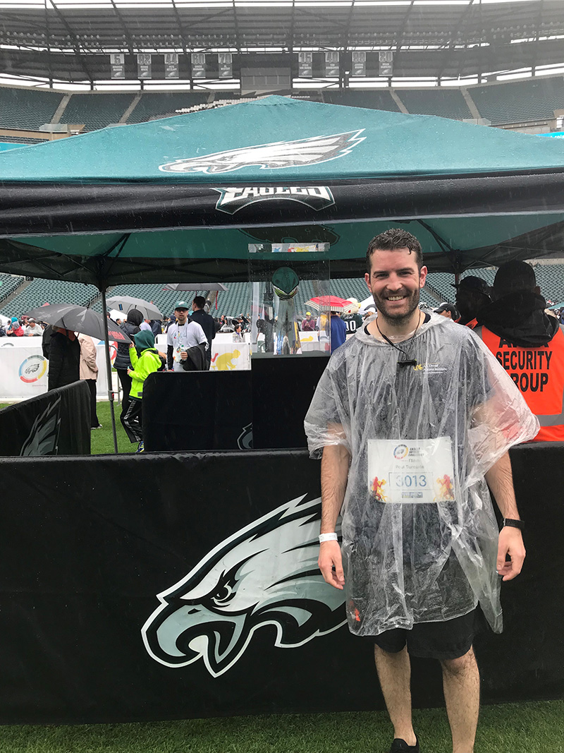 Paul Turcotte, MPH '14, research associate II in the A.J. Drexel Autism Institute, ran a 5k in last year's Eagles Autism Challenge.