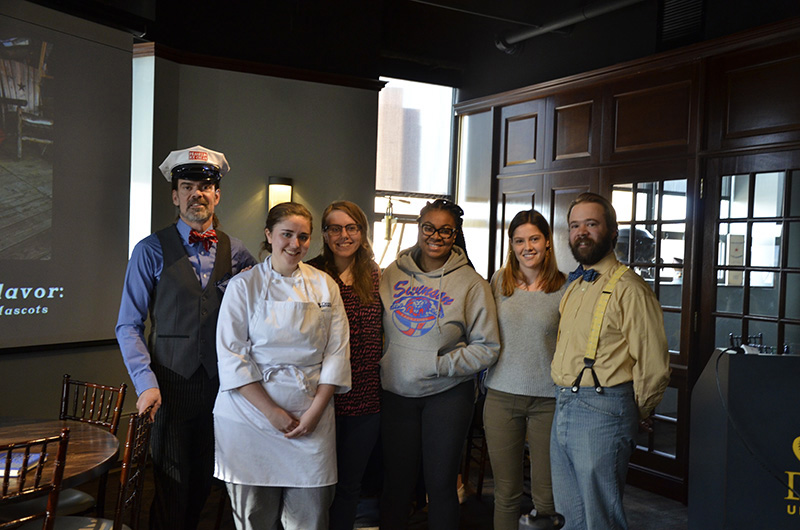 The student finalists and co-owners of Franklin Fountain. From left to right: Ryan Berley, Katelyn Comerford, Bridget Heeney, Toni Hicks, Nora Vaughan and Eric Berley.