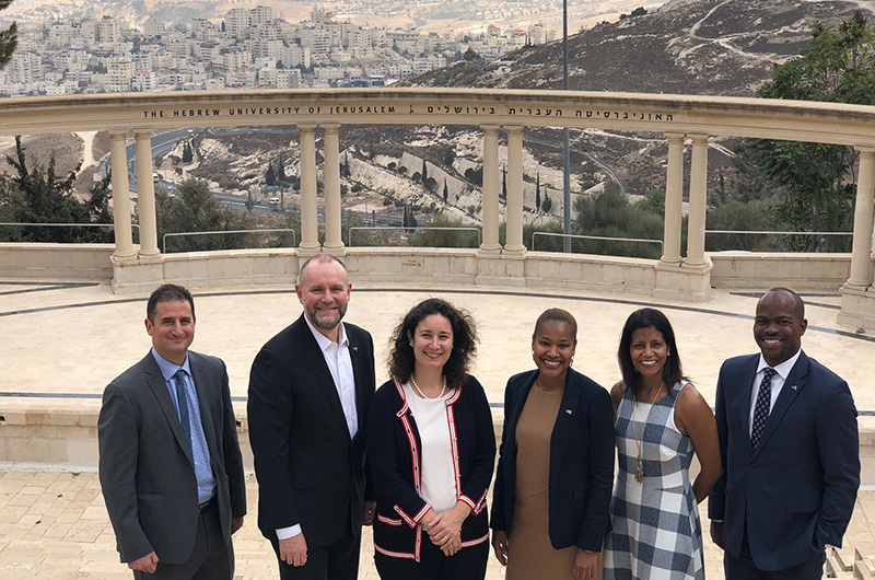 The Drexel delegation in front of the Hebrew University of Jerusalem's amphitheater. Left to right: Michael Yudell, Aleister Saunders, Sharon Walker, Koren Bedeau, Bridget Blake and M. Brian Blake.