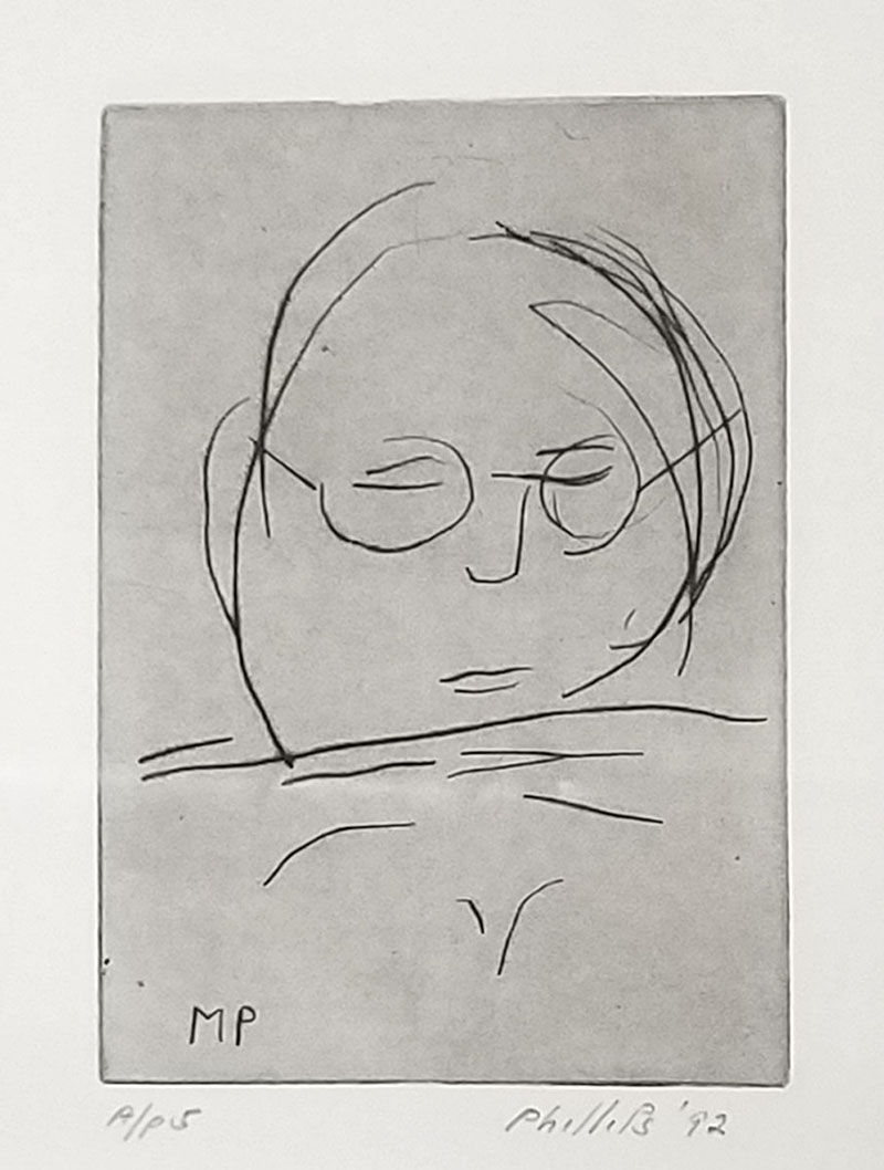 """Self Portrait,"" by Matt Phillips, 1992, drypoint. Photo courtesy The Drexel Collection."