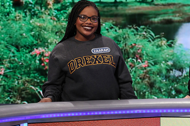 "Drexel University student Zaarah Abdul-Aziz on set to compete on ""Wheel of Fortune."" Photo Credit: Carol Kaelson."