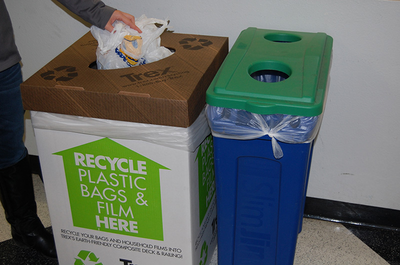 Plastic bag and film recycling bin at Drexel University.