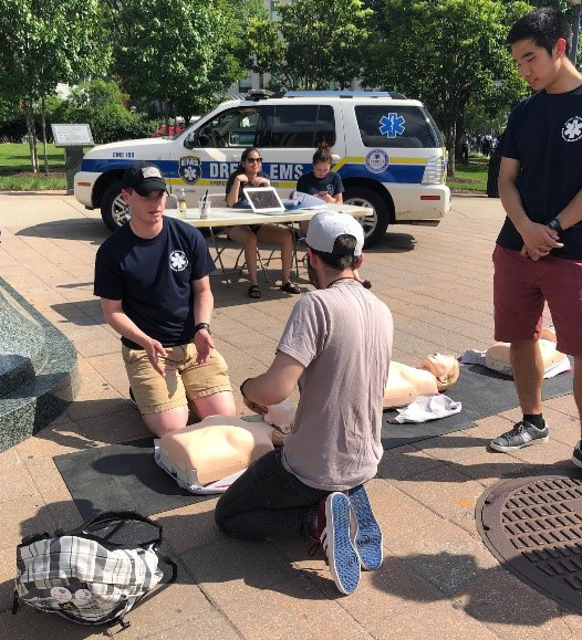 Once a term, Drexel EMS hosts a Hands-Only CPR demonstration.