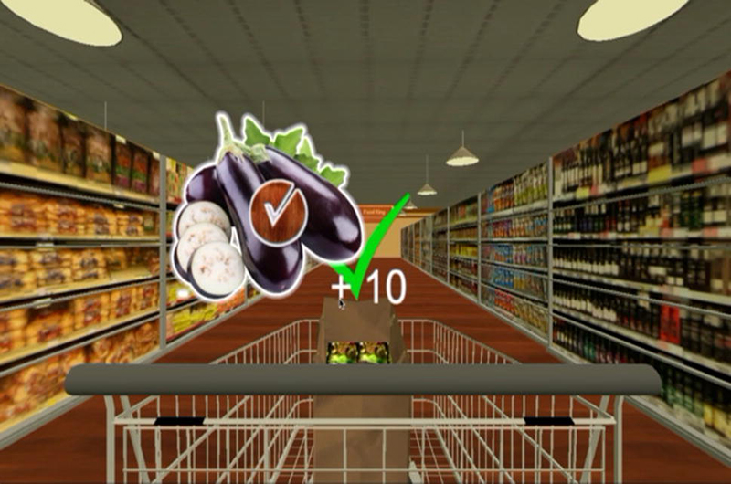 Screen shot of computer game, Diet DASH, developed and tested by Drexel University