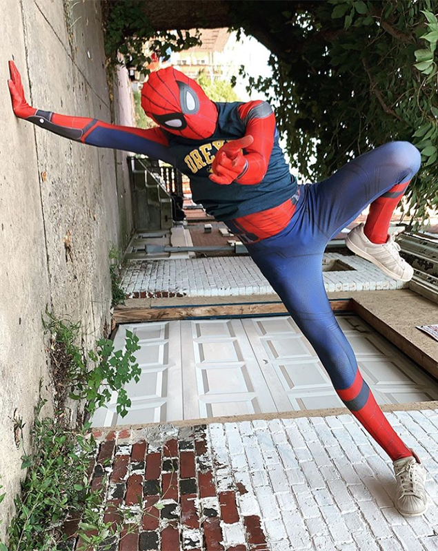 Drexel Spidey usually makes appearances on Drexel University's campus, but also sometimes spreads cheer in his neighborhood about 20 minutes away.