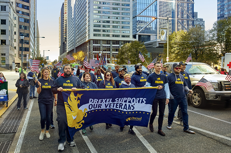 Drexel Dragons participating in the Philadelphia Veterans Parade in 2018.