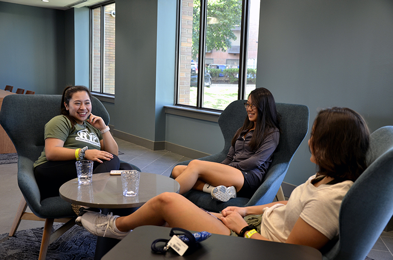 Residents hang out on the ground floor of Drexel's Bentley Hall, which boasts ample space for quiet study, as well as laundry facilities and an office suite for Honors College staff.