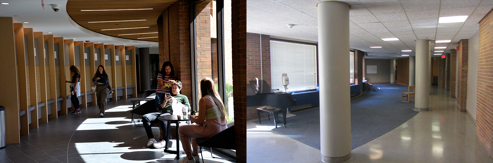 In this side-by-side picture of the first floor of Bentley Hall before (right) and after (left) construction, it's easy to see the brand new windows on both sides of the building, as well as the improved flow through the space.