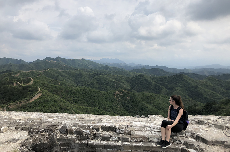 """I've always been interested in China because it's kind of like this place that everyone says is so different from any other country in the world and it's so far away and it's kind of like this unknown land,"" said Sarah DiPasquale. Here she is at the Great Wall."