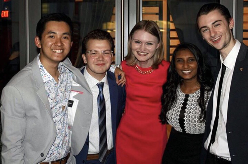Sam Hubner (middle) and Kenneth Tran (far left) are both fourth-year students and hold the positions of vice president and director of communication respectively for the Undergraduate Student Government Association (USGA) for this academic year.