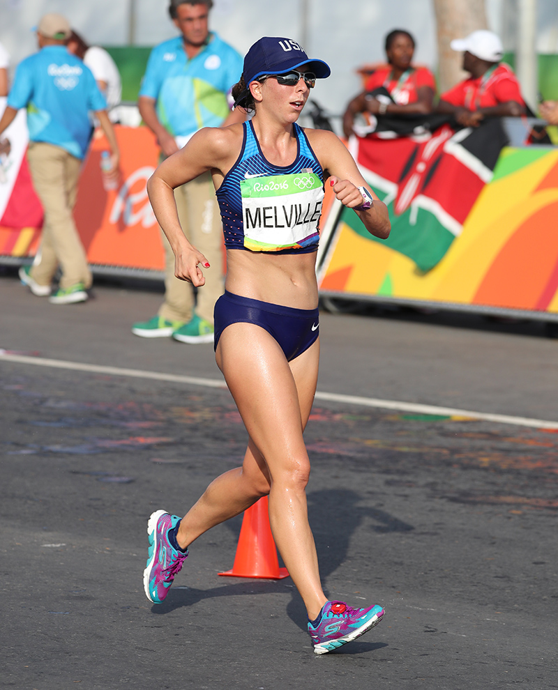 American race walker Miranda Melville competing in the 2016 Olympic Games. Photo credit: Jeff Salvage.