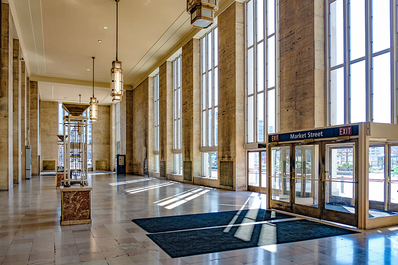Tables and chairs were removed from the seating area inside 30th Street Station.