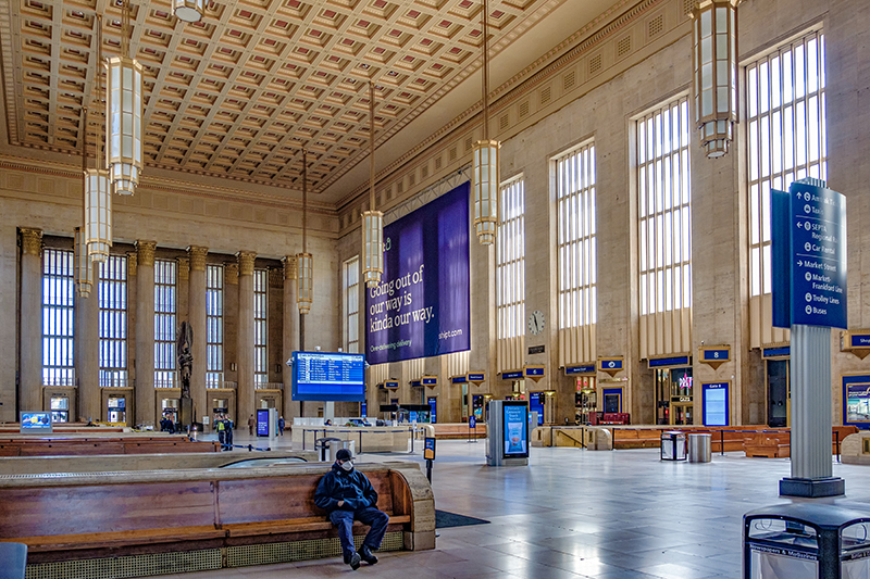 The normally busy heart of 30th Street Station was devoid of travelers.
