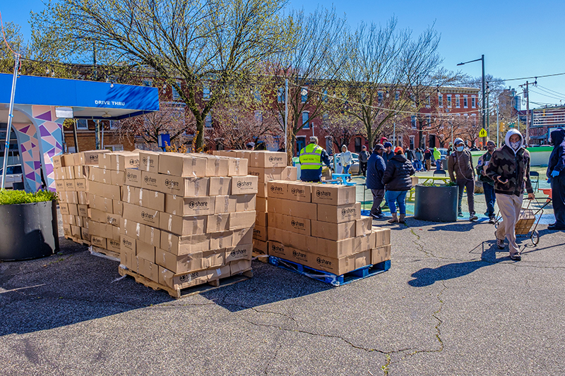A food distribution point hosted by the People's Emergency Center was held at 3750 Lancaster Ave. to serve the Mantua and Powelton Village neighborhoods.