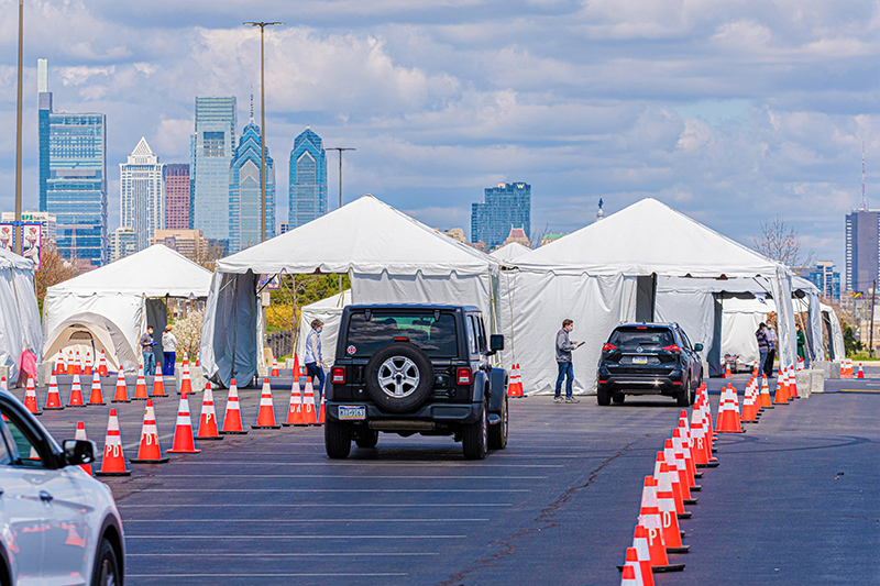 Cars lined up at the drive-through testing site in South Philadelphia outside Citizens Bank Park.