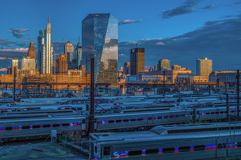 SEPTA Regional Rail trains stationed at the rail yard near 30th Street Station.