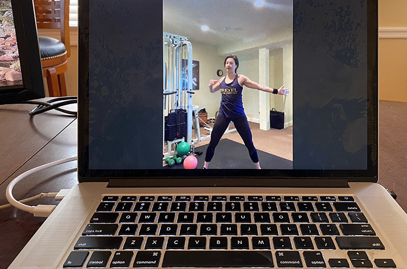 A conditioning group exercise class taught on Zoom by Drexel instructor and alumna Johanna Burns. Photo credit: Bryan Ford.