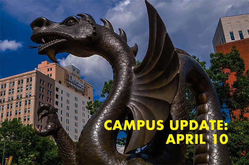 Photo of dragon sculpture at 34th and Market Streets of Drexel's campus
