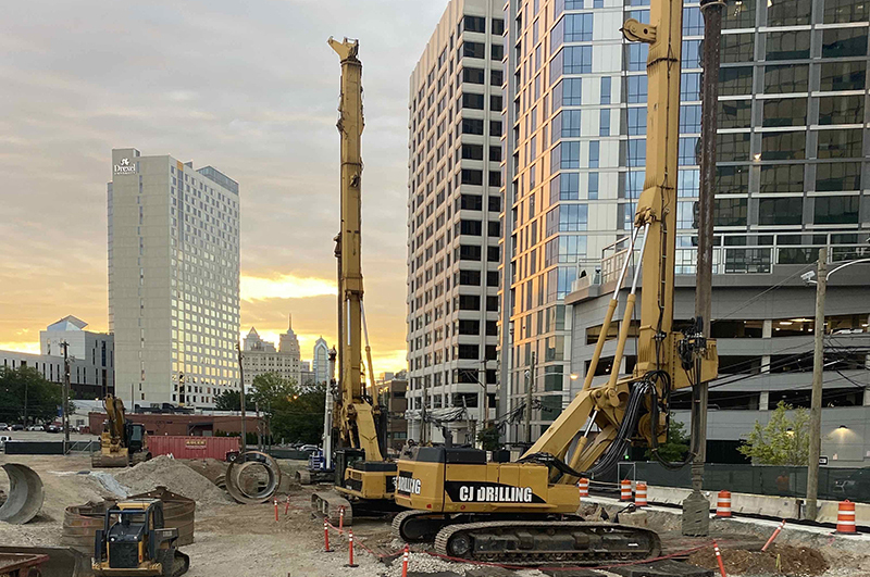 The Drexel Academic Tower site — a key part of the planned UCity Square — photographed earlier this month. Photo courtesy Wexford and Turner Construction.