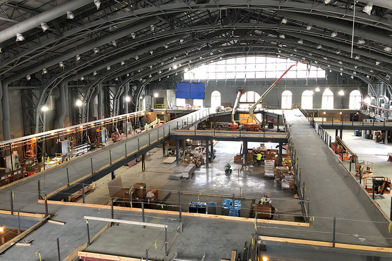 The  interior of the Arlen Specter US Squash Center site in late June. Photo courtesy Michael W. Thompson.