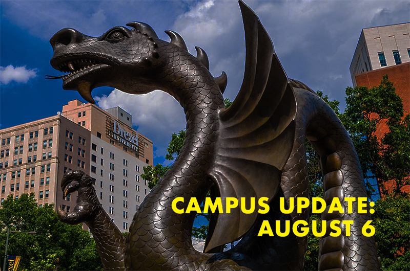 Dragon statue with Campus Update August 6