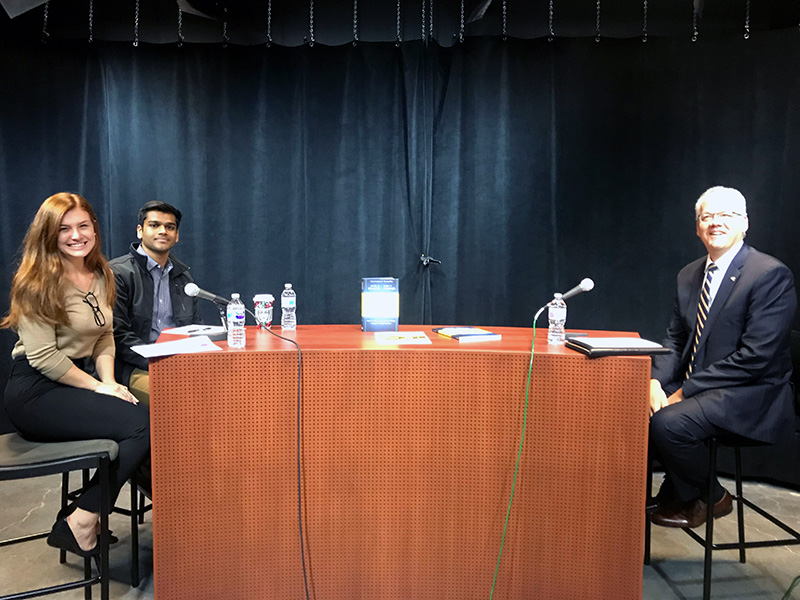 "Rajeev Nunna, a third-year finance major, and Bella Santosusso, a fourth-year economics and legal studies major at Drexel University interviewing Interim Provost Paul Jensen, PhD, in the inaugural episode of the student-run ""LeBow Students Talk Leadership"" podcast."