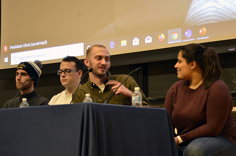 At a panel on Feb. 12 sponsored by the Steinbright Career Development Center and the College of Engineering, four students and one alumna discussed how they landed co-ops or jobs at Amazon, Facebook, Microsoft and Google and what it was like to work there.