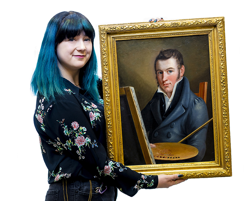 "Isabella Sangaline with ""Self-Portrait"" by Francis Martin Drexel (oil on canvas, 1817) stored in The Drexel Collection. Photo credit: Jeff Fusco."