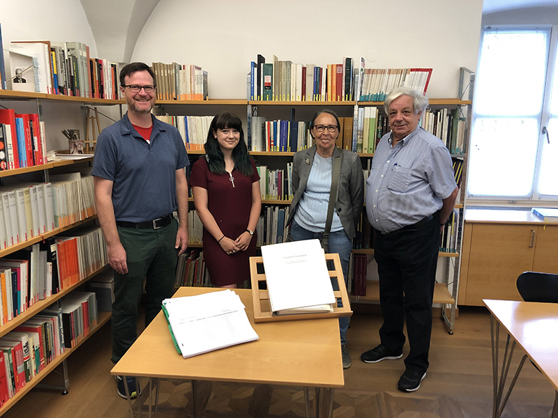 Left to right: Scott Knowles, Isabella Sangaline and Hildegard Oprießnig and Bruno Oprießnig, volunteers who helped transcribe old documents for Sangaline's co-op. Photo credit: Dornbirn City Archives.