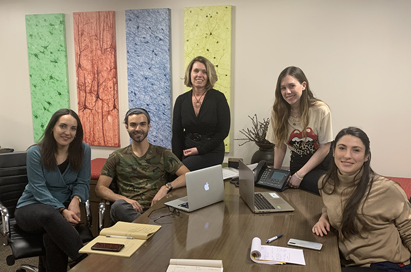 Left to right: Ottavia Tartagni, Anthony DiNatale, Olimpia Meucci, Julia Farnan and Claudia Albertini during a meeting to plan the upcoming student workshop. Photo courtesy Olimpia Meucci.