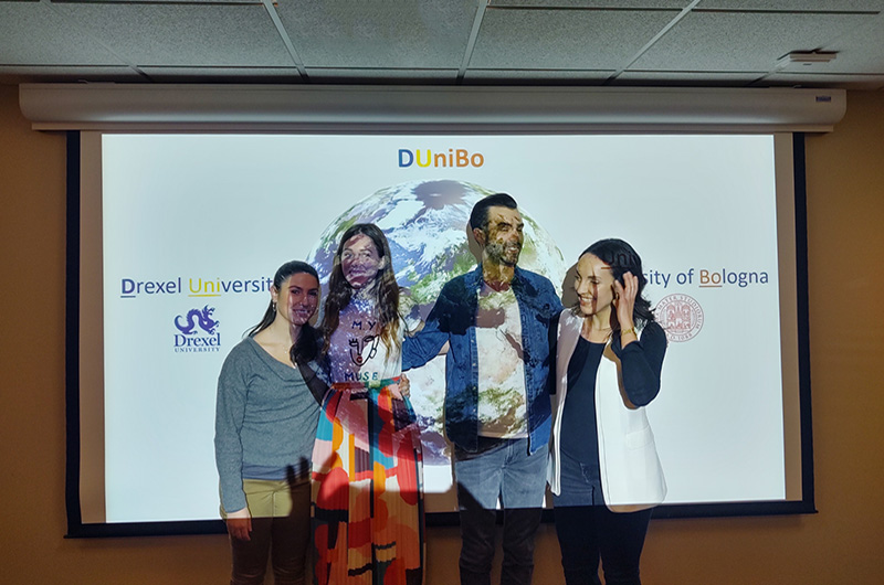 Left to right: Claudia Albertini, Julia Farnan, Anthony DiNatale and Ottavia Tartagni at the DUniBo presentation Farnan and DiNatale held at Drexel this winter. Photo courtesy Olimpia Meucci.