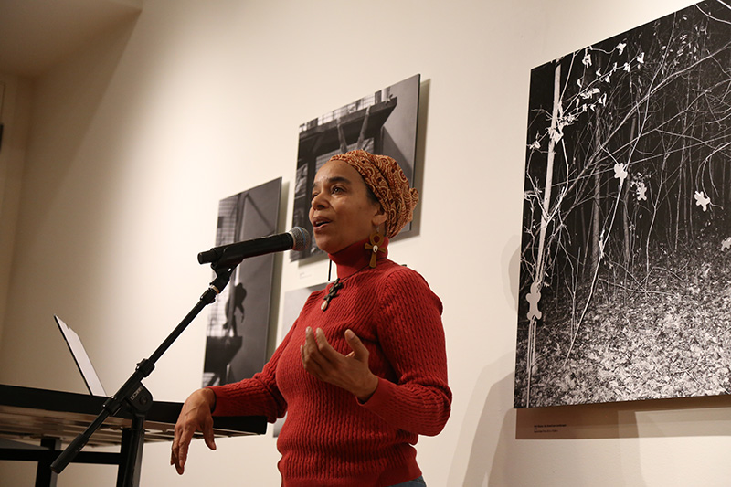 Andrea Walls, a writer and multi-media artist as well as lifelong Philadelphia currently residing in Overbrook, giving a presentation about her work while in residence at The Study hotel.