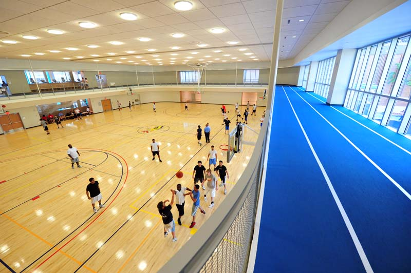 The indoor track overlooking the basketball courts in the Recreation Center. The photo was taken by Sideline Photos in April 2010.