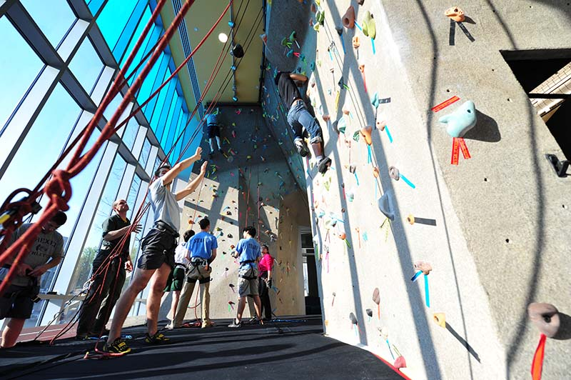 The climbing wall captured in a photo from April 2010 by Sideline Photos.