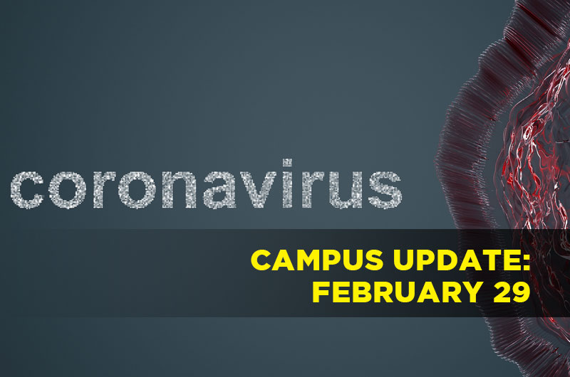 image of virus with the words coronavirus campus update February 29