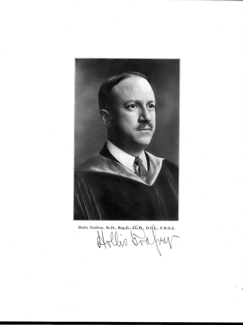 A page featuring the photo and signature of Hollis Godfrey from the 1918 Lexerd yearbook. Photo courtesy University Archives.