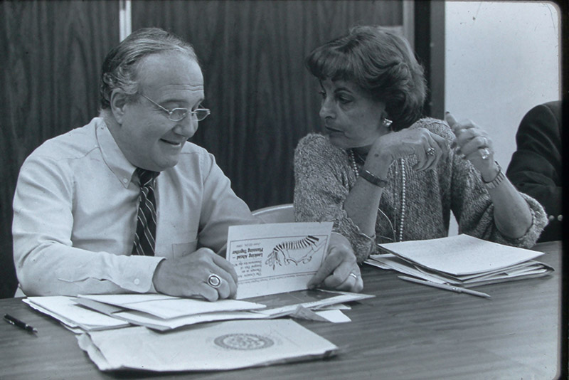 Myra Levick, PhD, and Paul Fink, MD, who replaced Morris J. Goldman as director of Hahnemann's program, an undated photo. Photo courtesy Sherry Goodill, PhD.