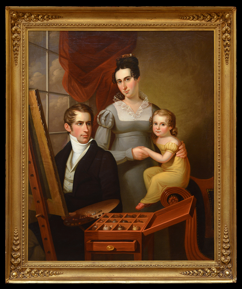 """Self-Portrait with Family"" by Francis Martin Drexel. Oil on canvas, 1824. This painting, depicting Francis Martin with his wife and first child, was displayed at the 1825 PAFA exhibition and is now housed at Drexel University. Photo courtesy The Drexel Collection."