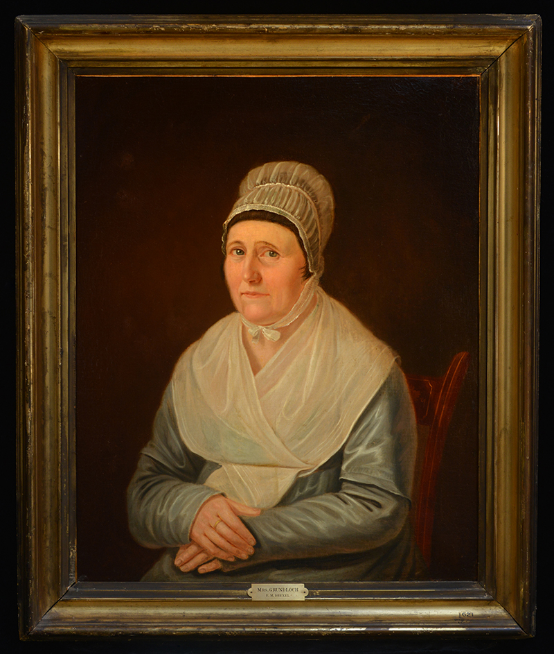 """Portrait of Mrs. Gottlieb Grundloch"" by Francis Martin Drexel. Oil on canvas, 1817. She was his landlord when he first arrived in America. Today, this painting can be found at Drexel University. Photo courtesy The Drexel Collection."