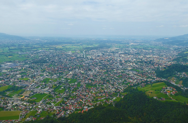 The modern-day view from the Karren mountain in Dornbirn overlooking the city (and Francis Martin Drexel's birth house), with Germany in the forefront and Switzerland (and the Rhine River Francis Martin crossed) to the left.