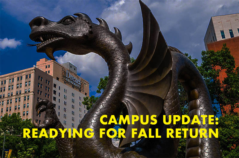 Dragon statue plus text that reads readying for a fall return