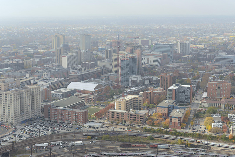 A 2014 aerial shot of Drexel's University City Campus. Photo credit: Kelly & Massa Photography.
