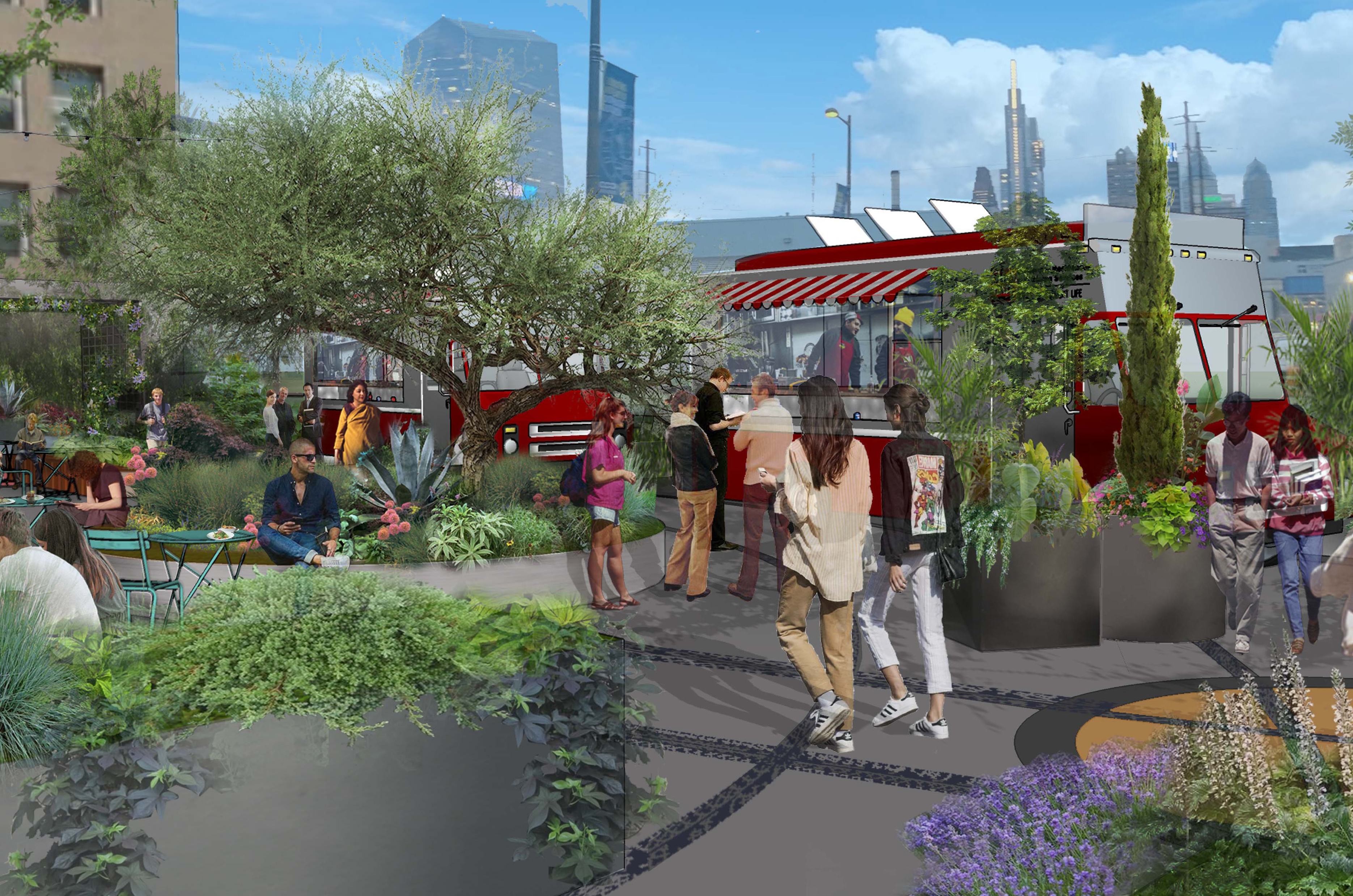 rendering of the garden at 32nd and Market Streets with seating and trucks