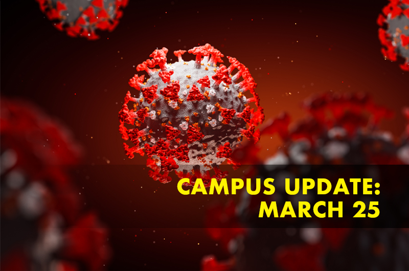 red rendering of coronavirus with campus update March 25