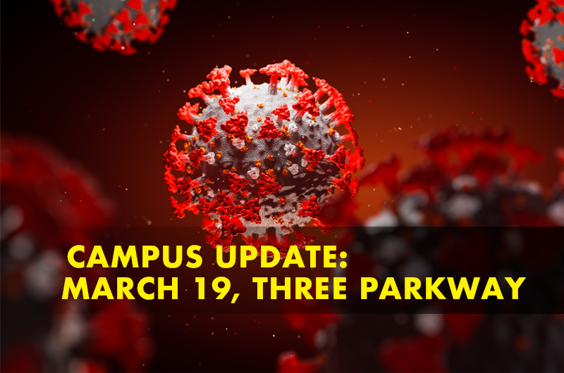 Red image of coronavirus cell with: Campus Update: March 19, Three Parkway