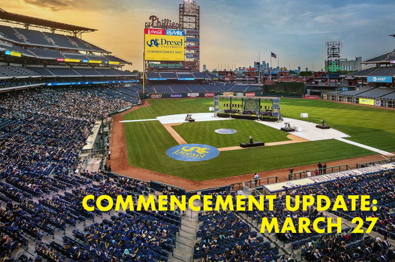 Image of Drexel communecement setup at Citizens Bank Park