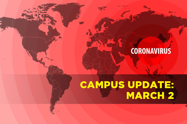 Map of world in red with words campus update March 2
