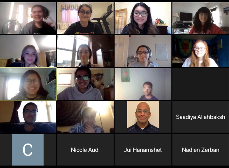 The members of Women in Computing Society (WiCS) meeting over Zoom during Drexel's remote spring term.